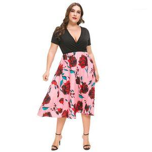 V Yaka Pileli Elbise Yaz Kadın Kısa Kollu Giydirme Plus Size Özel dizayn edilmiş elbiseler Moda Çiçek Baskılı Deep Womens