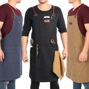 WEEYI женщины мужчины регулируемый холст рабочий фартук для приготовления пищи выпечки ресторан с кожаным ремешком человек ремесленник садовник Сапожник фартук