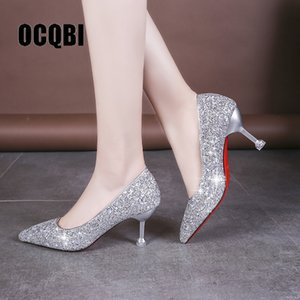 HOT 2019 new style Wedding bride shingle high-heeled shoes pointy bridesmaid gold powder crystal banquet shoes bling high heels Y200702