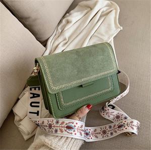 Hombro del diseñador-cuadrado de lujo de la taleguilla Cruz Moda Satchel pequeño Newset de banda ancha de Corea del retro Bolsa chicas jóvenes bolsa de hombro Flores