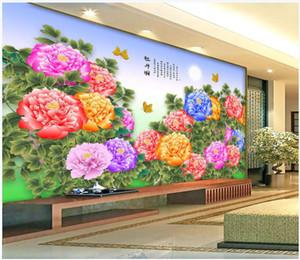 WDBH 3d duvar kağıdı özel fotoğraf Şakayık Çiçek Garden Chinese Stil arka plan oturma odası ev dekor 3d duvar resimleri duvarlara 3 d için duvar kağıdı