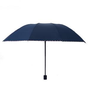 Firm Winddichtes Große Regenschirm Drei Folding Umbrella Schwarz Beschichtung Anti-UV Sunny Rainy Regenschirm Kurzer Stiel Regenschirme Großhandel VT0484