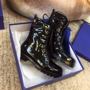 Mode Haute Qualité Designer Femme Martin Bottes en cuir véritable brevet original Chaussures en cuir noir à fond plat Cravate Bottes de cheville Casual