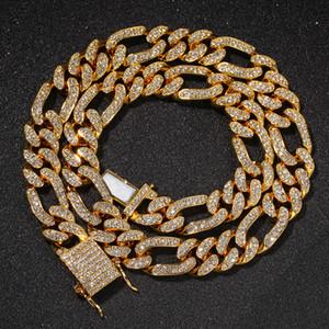 Cadenas de Figaro Collar 13mm HIPHOP Silver / Gold Color Iced Out Out Rhinestones Cuban Enlaces Collares Joyería Hombres Hip Hop Joyería