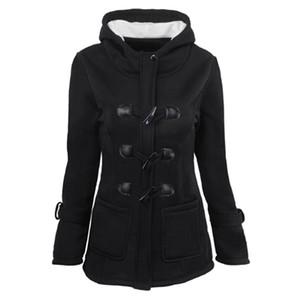 여성 인과 코트 가을 Witner 여성 외투 여성 후드 착실히 보내다 지퍼 혼 버튼 재킷 큰 크기의 S-6XL 6 색