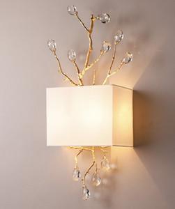 Ретро золотой кристалл ворота стены подсвечниках современные дорожки Настенные светильники Спальня Princess Room Светодиодная лампа белого Shade E27 кристаллический светильник стены