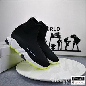 Melhor Velocidade com qualidade de instrutor preto Sneakers Homens Mulheres Preto Red Shoes moda casualBalenciagaMeias sapatilha Top Botas Tamanho 36-45