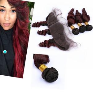 Бразильский Virgin Ombre Hair Связки с Closure Dark Root Сыпучие WAVE Деве Ombre Связки волос с фронтальным Закрытие Влажная и Волнистые # 1B / # 99J