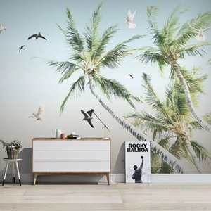 Custom Mural Wallpaper 3D Coconut Tree Seaside Landscape Wall Painting Living Room TV Sofa Bedroom Background Wall Painting 3 D