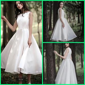 Vintage A-line Cetin Tea Length Short Wedding Dresses petite's girls Bateau Neck Sleveless Vestidos De Noiva informais Mais vendidos