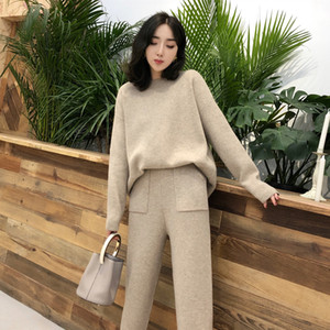 Knitted 2 pieces Set Tracksuits Women 2019 Autumn Winter Thick Warm O-neck Loose Sweater+Ankle-Length Pants Warm Cashmere Suit T191231