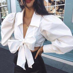 Shirts Fashion solides Lantern couleur manches Chemises Crop Bow Tie Femmes Sexy col en V Chemisier Lace Up femmes Designer