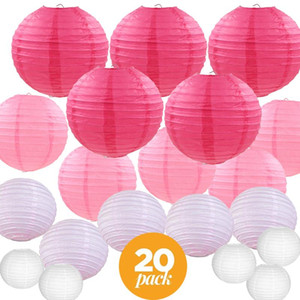 20 pièces de papier rose blanc lanternes Mix japonais chinois couleurs assorties Tailles Lampion pour soirée de mariage Hanging Décor Diy