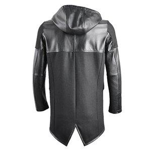 2020 hooded patchwork genuine long coat smart causla woolen cow windbreaker men real leather jacket male fashion style
