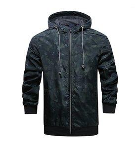 Fermuar Moda Tasarımcısı Camouflage ile Kalın ceketler Kapşonlu Uzun Kollu Erkek Palto Bahar Erkek Dış Giyim