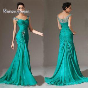2020 Vintage Plus Size ärmellose Mutter Kleid Chiffon formale Party Kleid Meimaid Hochzeitsfeier Perlen tragen bodenlangen