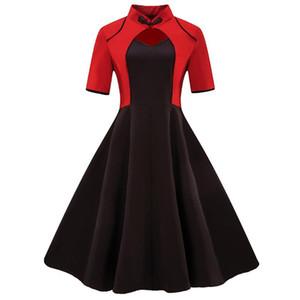Wipalo 레드와 블랙 패치 워크 빈티지 드레스 50s 로커 빌리 우아한 A 라인 파티 드레스 여름 플러스 사이즈 코튼 Vestidos Y19012201