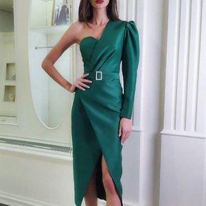 Adyce 2019 New Outono Mulheres Verde um ombro celebridade Evening Party Dress Vestido Sexy Strapless Sash Vestido manga comprida Clube