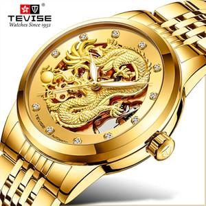 Tevise Lüks Golden Dragon Tasarım Erkek Saatler Paslanmaz çelik İskelet Otomatik Mekanik İzle Su geçirmez Erkek Saat