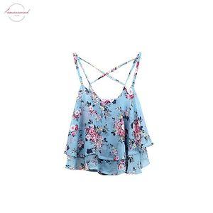 Women Tanks Top Summer Clothing Spaghetti Strap Floral Print Chiffon Shirt Vest Blouses Crop Top Sexy Tanks Tops Female