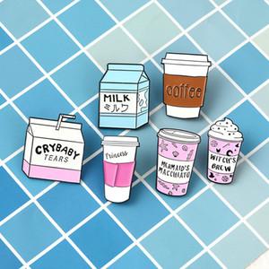 Coleção copo! do Mini desenhos animados gelado Float Caneca Witch Brew Milk Box Broches Witch lapela pinos jóias Wicca Witchcraft