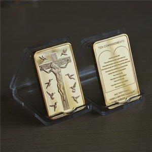 1 унция позолоченный бар, Иисус Христос Десять Заповедей слитков бар сувенирные монеты подарки