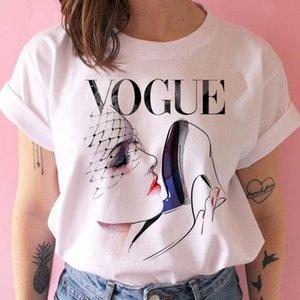 VOGUE Moda Mujeres camiseta nuevas letras impresas de manga corta Leopard Patrón Casual Top camisetas para el verano de 2020 Nueva venta al por mayor
