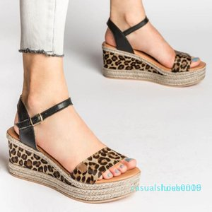 Сандалии лета женщин дамы моды девочек Leopard обувь женщина сандалии клинья пряжки Повседневная обувь Buty Damskie Sandaly c09 L16