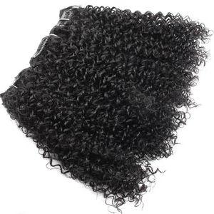 이중 Weft 8A Grade Thick Afro 4a 아프리카 계 미국인 흑인 여성용 Real Remy Human Hair 120g 용 Coily 헤어 클립