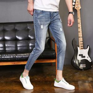 AudWhale Sommer Zerrissene Dünne Männer Jeans Mittlere Taille Lässige Bleistift Jeans Hosen Für Männer Knöchellangen Stretch Männliche