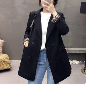 Mujer de la capa del otoño y del invierno de Nueva flojo retro ropa casual chaqueta británica pequeña capa del juego del manguito Leopard Moda Mujer
