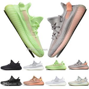 ssYEzZYYEzZYs v2 350boost With Box Kanye West Clay V2 White Static Reflective GID Glow In The Dark Mens Running Shoes Hy
