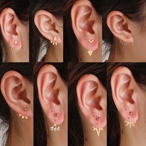 2020 Ear куртки серьги стержня для женщин спереди Вид сзади Утеплители ювелирных изделий серьги способа Brincos нержавеющей стали Pendientes