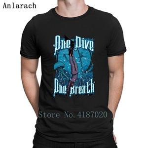 One Dive One Breath Freediving T-Shirt Tops Designing Family T Shirt For Men Authentic Male Round Collar Anlarach Funky