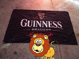 Флаг разливного пива Гиннеса, Барные рекламные баннеры, 100% изготовленный на заказ полиэстер 90 * 150см