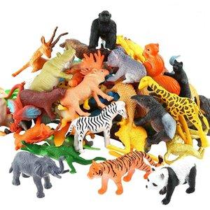 53pcs set Mini Animal World Zoo Model Figure Action Toy Set Cartoon Simulation Animal Lovely Plastics Collection Toy For Kids T200603