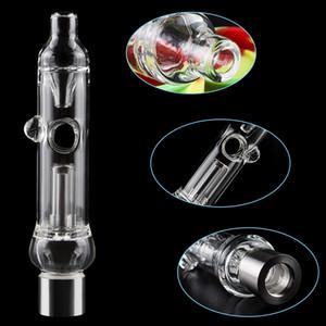Tragbare Glas Wasser Rohr Kit Honig Straw mit Loch-Glas Hand-Rohr mit 510 Titanium Quarz-Keramik-Nagel-Spitze-Konzentrat Bohrinseln