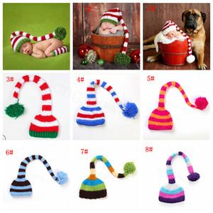 Handmade Knit chapéu de Santa Crochet Bebê Xmas tampas Pompom Natal Boy Girl Hat bebê Infant Long Tail listra Gorros partido sustentar chapéus CYF3131-3