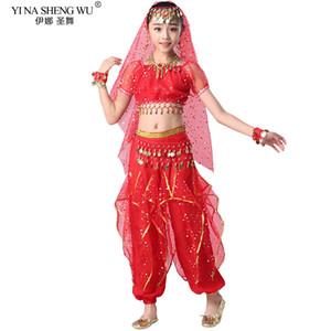 Дети костюмы Belly Dance Set восточных танцев девушки Танец живота Индия Концертная Одежда Танцы Pant Suit