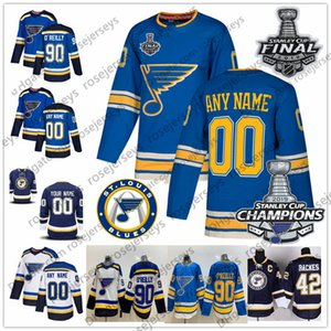 Louis Blues 2019 Stanley Cup Şampiyonlar Jersey 2 Al MacInnis 9 Doug Gilmour 11 Brian Sutter 16 Brett Hull 42 David Backes
