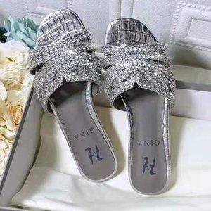 deslizador de la sandalia de los zapatos de gina damas diamante de tirón del deslizador de las mujeres a estrenar fracasos zapatos con diamantes de alta calidad! Po10292