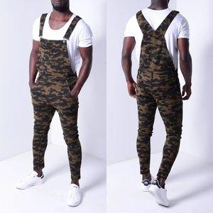 Mens Moda Denim Macacões Camouflage Impresso Casual Roupa Streetwear longo macho Calças Macacão jeans Plus Size