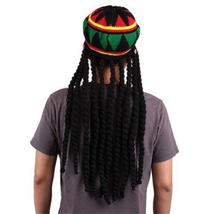 Men Women Jamican Rasta Hat Dreadlocks Wig Bob Marley Caribbean Fancy Dress Prop Unisex Hats & Caps Hats, Scarves & Gloves Knitted Beanie Ha