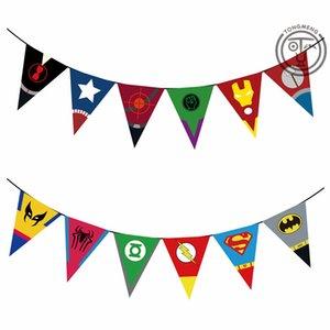 Bandera de triángulo de fiesta Cadena de papel Decoración de cumpleaños para niños Banderas de colores Avengers Union Triangle Banner Pull Flower Par 4 5aw L1