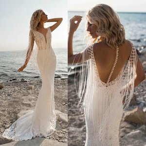 2020 Elegant Mermaid Wedding Dresses Beading Applique Tassel Bridal Gowns V Neck Beach Sweep Train Backless Wedding Dress