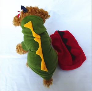 Dinozor Pet Köpek Giyim Tüylü Sevimli Karikatür Kış Isıtıcı Köpek Tek Parça Konfeksiyon Moda 9sl Uu Giydirin