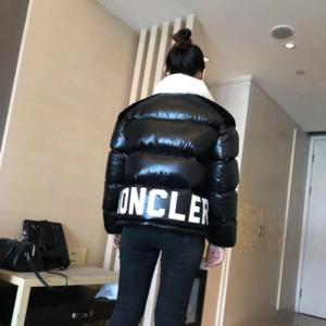 Kadın Down Parkas ceket Parlak Siyah ve Beyaz Kontrast Baskı Kişilik Mektupları Kalınlaşmak Kısa Dikiş Beyaz Aşağı Ekmek A23M Ördek