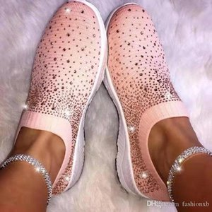 Women's Ladies Ankle Shoes Flat Loafers Crystal Fashion Bling Shoes Casual Ladies Slip On Breathable Casual Shoes