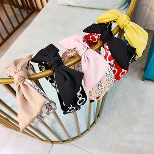 Fashion Rabbit ears bows hair sticks boutique kids chain printed Bows wide pageant hairbands women headband children hair accessories A3411