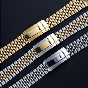 GMT datejust saatler için uygundur Watchband 20mm İzle Band Kayışı 316L Paslanmaz Çelik Bilezik Kavisli sonu Gümüş İzle Aksesuarları